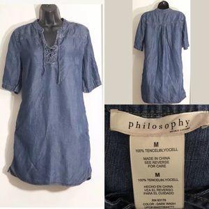 Philosophy M soft denim lace up tunic shirt